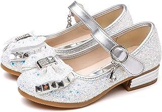 أحذية فساتين للفتيات أحذية حفلات الزفاف Mary Jane لامعة لوصيفات العروس بكعب أميرة (طفل صغير/طفل كبير)