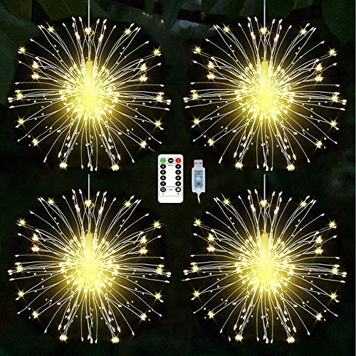 Yowin Firework Lights 480 LED Copper Wire Starburst String Lights 8 Modes USB Powered Dimmable Fairy Lights with Remote, Waterproof Hanging Lights for Christmas Indoor Outdoor Decoration