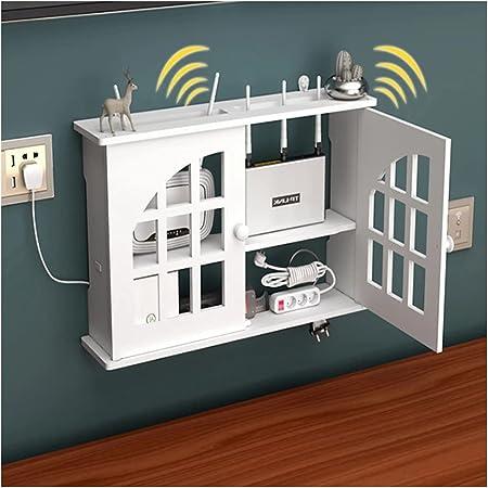 PPGE Home Caja Router WiFi para Pared Estante de Almacenamiento de Router Blanco Caja de Almacenamiento para Router y Cables Plástico de Madera Soporte Router Pared Organizador de Cable B