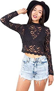 Women's Juniors Cropped Lace Long Sleeve Top