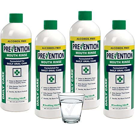 Prevention Daily Care Mouthwash Alcohol-Free   Value 4 Pack, Gentle Hydrogen Peroxide Mouthwash, The Original Alcohol Free Mouthwash