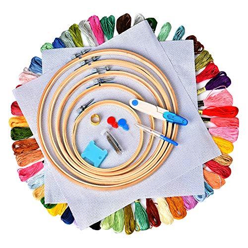 Cozywind Kit de Inicio de Bordado Kit de 50 Madejas de Hilos de Bordar, 5 Bastidores, 2 Telas de Punto de Cruz, Agujas y Accesorios Completos Herramienta de Coser Manualidades