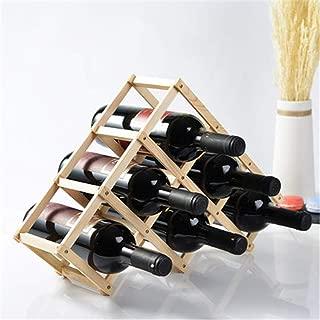 WYZXR Wood Wine Bottle Storage Rack, Wall Home Decor Creativity, Folding Tabletop Bottle Wine Rack