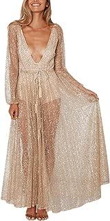 Women's Sparkle Glitzy Glam Deep V Neck Sequin Lace Soild Mesh Serspective Long Dress Party Club Dresses Cocktail