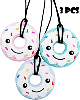 MMK Chewies Sensory Chew Necklaces for Kids, Pack of 3 Pink, Blue, and Green – Donut Shaped Teething Toy – Premium Food Grade Quality – Breakaway Technology – Soothe, Calm and Focused Children