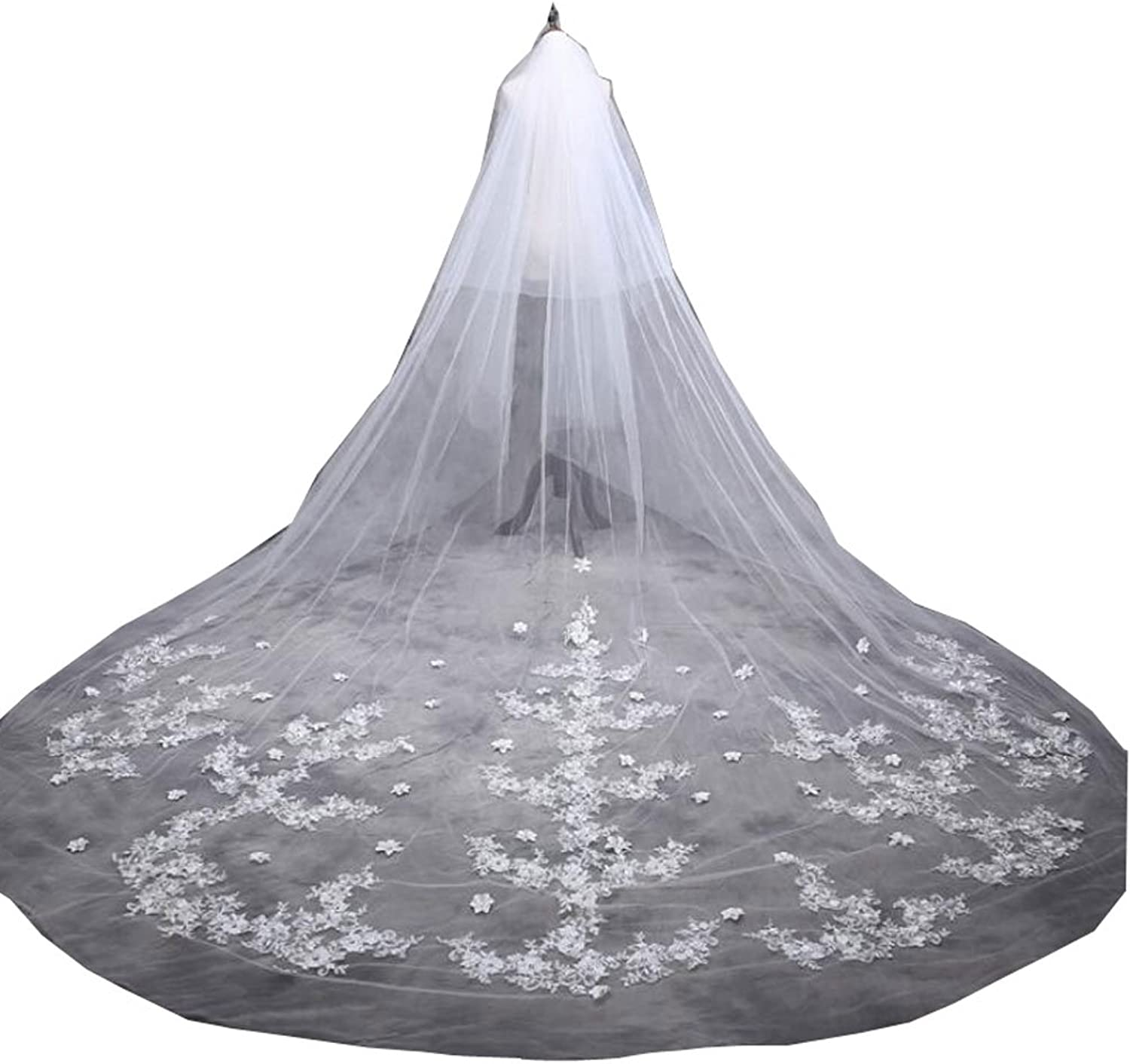 Kelaixiang 5 Meter Long 2 Tier 2 Layer White Cathedral Bridle Veils