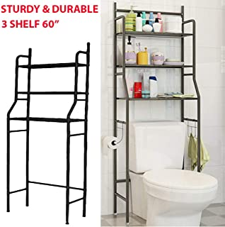 3 Shelf Sturdy & Durable Over The Toilet Bathroom Kitchen Space Saver Metal Towel Storage Rack Organizer Suitable for Store Shampoo, Towel, Shaving Razor, Roll Paper, Tissue Box, Etc - Black
