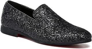 Men's Sparkling Glitter Luxury Slip on Loafers Smoking Slipper