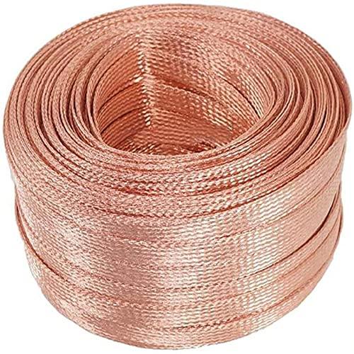 Cable trenzado de cobre de 3,3 pies, cable de cobre extensible trenzado, ancho: 25 mm, grosor: 2,0 mm (20 milímetros cuadrados)