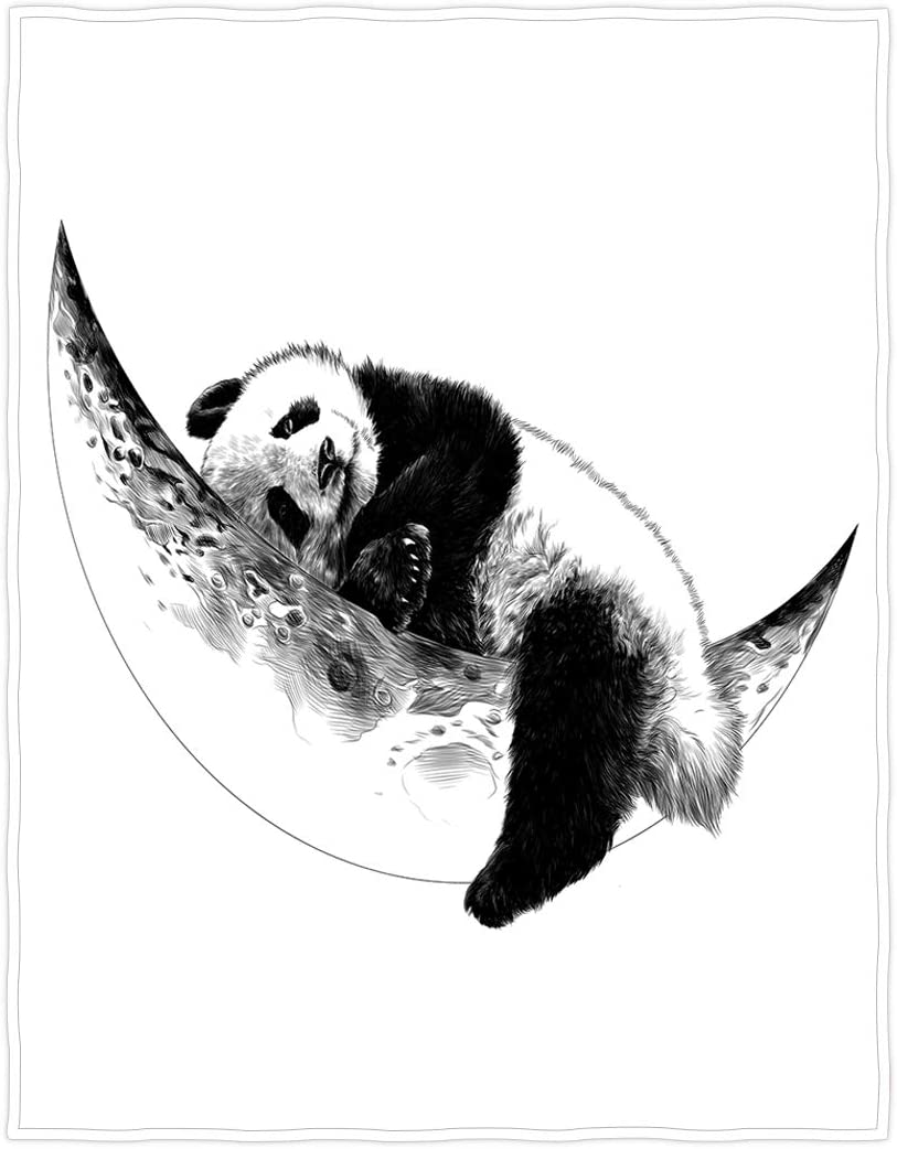 QH Panda with Moon Throw Blanket Recommendation Limited time trial price Lightweight Soft Super