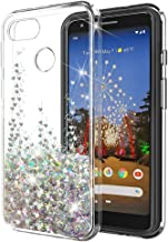 Google Pixel 3a XL Case SunStory Luxury Fashion Design with Moving Shiny Quicksand Glitter and Double Protection with PC Layer and TPU Bumper Case for Google Pixel 3a XL (Silver)
