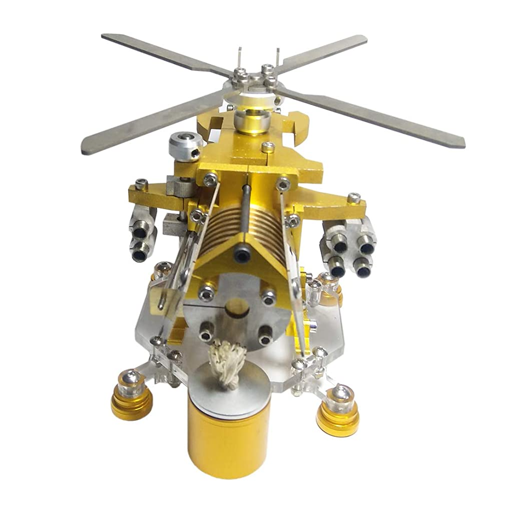 Yamix Military Helicopter Design Single Cylinder Stirling Engine Model Science Metal Toy Home Office Decor