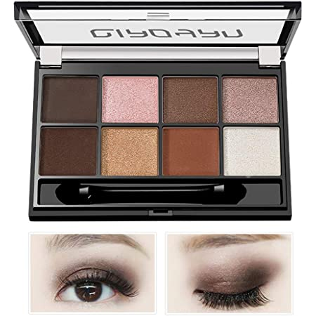 Eyeshadow Makeup Palette - with Mirror, Shimmer Matte High Pigmented Eyeshadow Pallet Nude Professional Makeup Warm Natural Long Lasting Waterproof Eye Shadow with Brush 8 Colors (Brown/coffee)