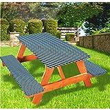 LEWIS FRANKLIN - Cortina de ducha abstracta de lujo para picnic, mantel, diseño de rayas diagonales y estrellas con bordes elásticos, 70 x 72 pulgadas, juego de 3 piezas para mesa plegable