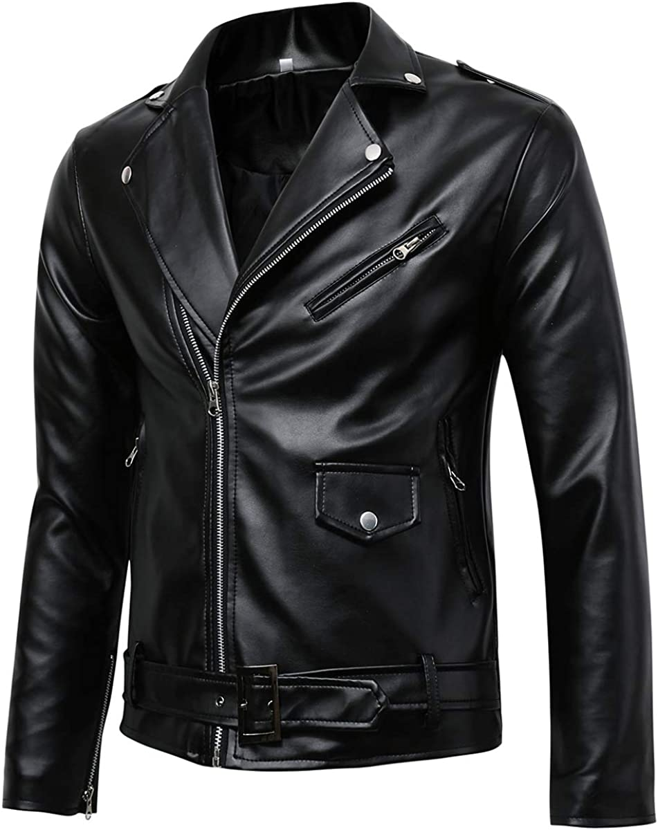 Beninos Men's Classic Police Style Coat Faux Leather Motorcycle Jacket at  Amazon Men's Clothing store