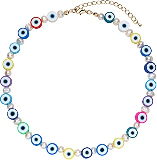 Flower Pearl Necklace Bohemian Flower Fruit Evil Eye Assorted Rainbow Colour Glass Beads Y2K Chunky Necklace for Teen Girl...
