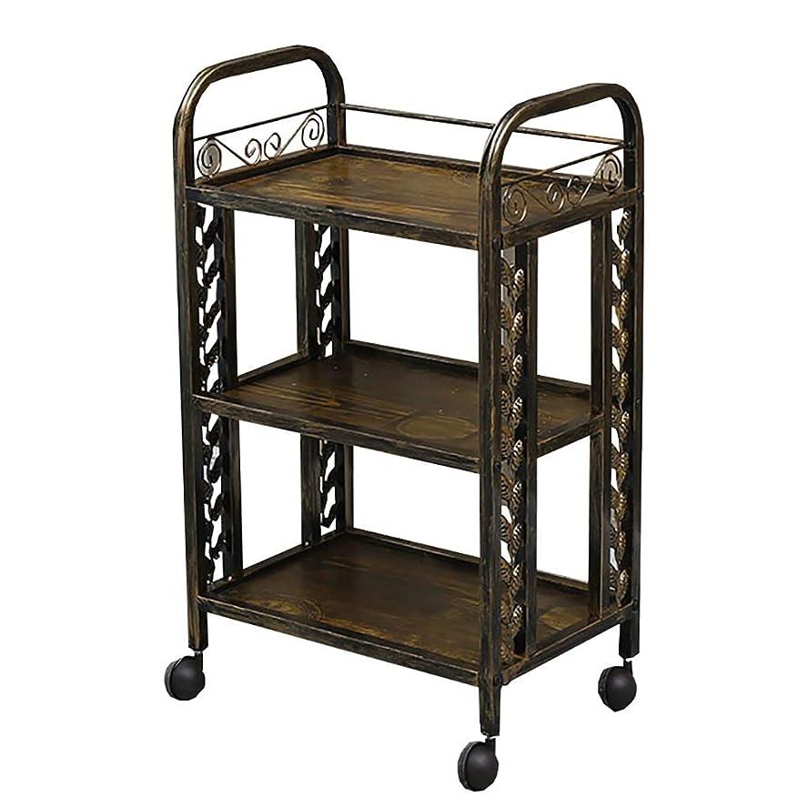 オートマトン黒くする大破美容院のカート、美容院の特別なカートの棚の移動式道具のカートのABSプラスチック多機能カート、49 * 32 * 82 cm (色 : B)