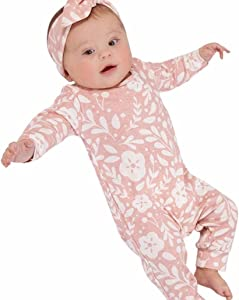 uBabamama Newborn Kids Girls Clothes Floral Print Outfits Clothes Romper Jumpsuit Headband Set