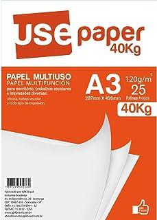 Papel Multiuso A3 120gr, Use Paper, 7208R, 40kg, Branco, 25 Folhas