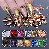 Chunky Glitter,Décoration Ongles Professionnelle 12 Grille Ongles Paillettes Gemmes Nail Art Paillettes pour Femmes Fille Ongles Art Artisanat DIY