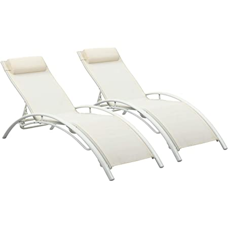 PROHIKER/Chaise Lounge Chair with Headrest Set of 2 Aluminum for Sunbathing On Outdoor Patio Beach Pool Backyard Lounge Chair Set of Adjustable Recliner Aluminum Frame 2 Gray