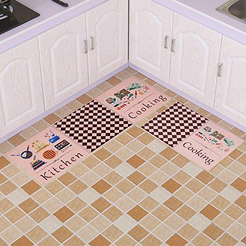 GRENSS Home Teppiche einfachen Stil Gestreifte/Karierte Muster Matten für Bad/Küche Bett Teppiche Eingang Fußmatte Nicht-silp Teppiche, B, 400 mm x 600 mm