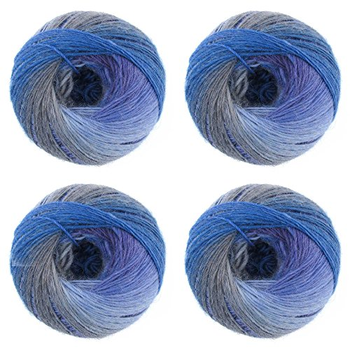 JubileeYarn - 100g Wool Galaxy Fantasy Yarn for Crochet, Knitting - Gradient Stripe Effect - 100g Skein - 4 skeins - Sea Spray - Color 101