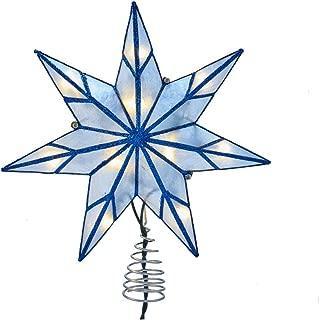 Kurt S. Adler Kurt Adler 10-Light 7-Point Blue Capiz Star Treetop, White