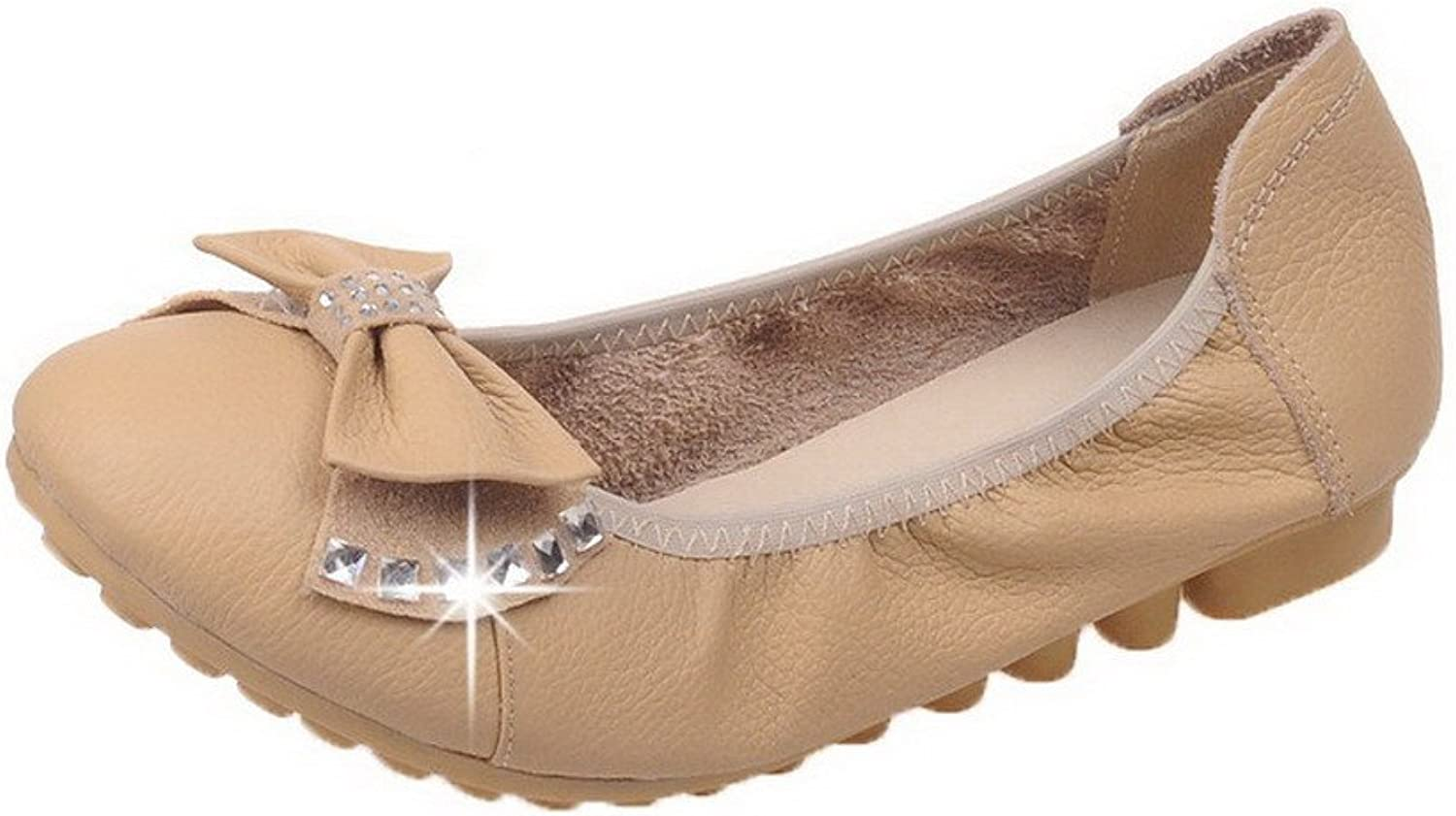 WeiPoot Women's Pull-On Low-Heels Pu Studded Round-Toe Pumps-shoes