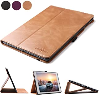 Boriyuan Leather Case for iPad 9.7 2018(6th Generation)/2017(5th Generation)/iPad Pro 9.7/iPad Air 2 &1-Genuine Leather Soft TPU Back Smart Cover with Pencil Holder & Magnetic Auto Sleep/Wake(Brown)