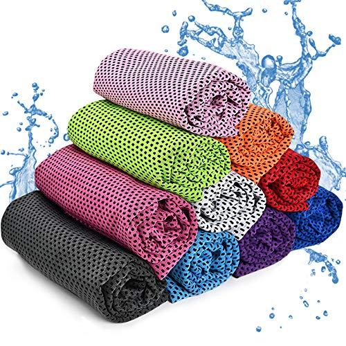 Gxhong Kühlendes Handtuch Set, Sport-Handtücher, Cool Towel, Fitness Handtuch, Mikrofaser Sporthandtuch, Kaltes Kühlende handtücher für Tennis, Sport, Reise, Yoga (10 Farben)