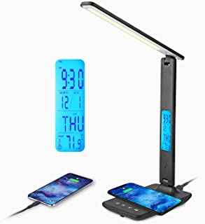 Lampe de Bureau LED avec Chargeur Sans Fil et USB,Lampe de Bureau Réglable Flexible Contrôle Tactile,Affichage LCD Avec Fo...