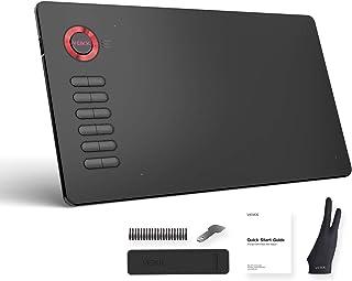 VEIKK ペンタブレット 10x6インチ作業領域 電池不要ペン消しゴム搭載 ペン先x20 12個のショートカットキー プレゼントにも最適 A15(レッド))