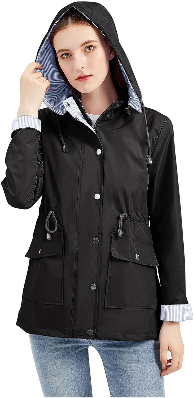 Women Winter Coat,Solid Rain Outdoor Plus Waterproof Hooded Raincoat Windproof Jacket Corset Drawstring Coat