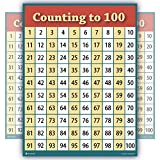 counting to 100 numbers one hundred chart LAMINATED teaching poster clear educators studen...