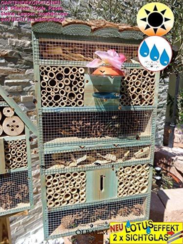 1x XXL insektenhotel Rindendach HOCH - Bienenhotel, mit Lotus+2xBrutröhrchen, TÜRKIS meeresblau blau insektenhotel Rindendach HOCH MIT TRÄNKE insektenhotel Rindendach HOCH Schaukasten Insekten