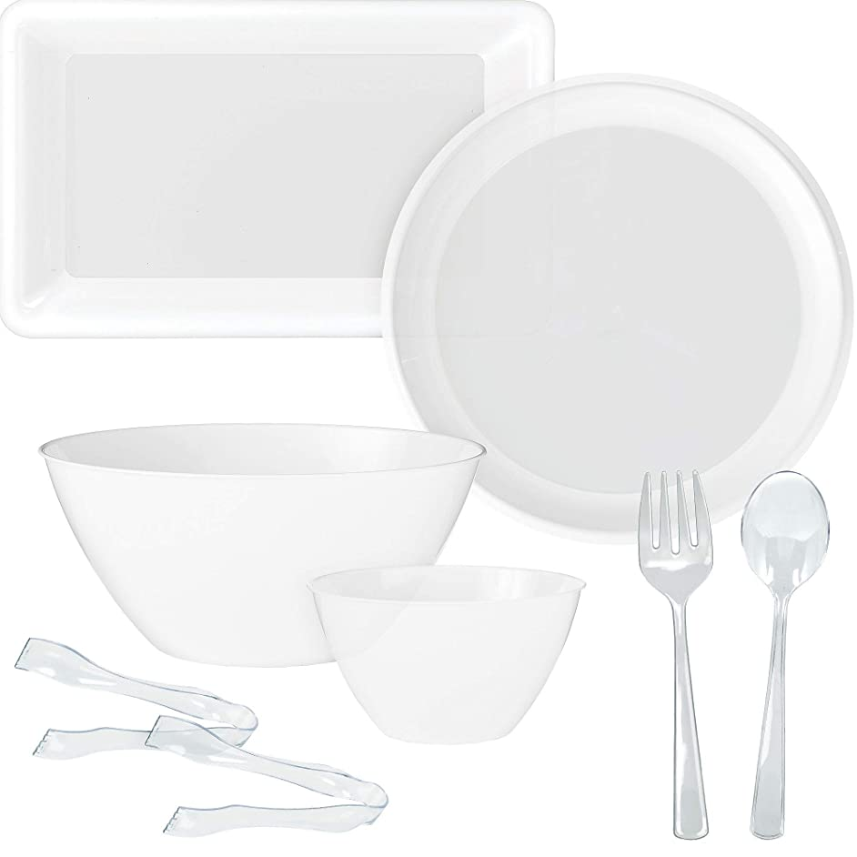 Party City White Serveware Supplies, Includes 2 Plastic Platters, 2 Plastic Bowls, 2 Pair of Tongs, and Serving Utensils