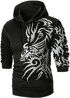 SakuraBest Men's Long Sleeve Printed Hoodie Hooded Sweatshirt Top Autumn Winter Outwear Blouse