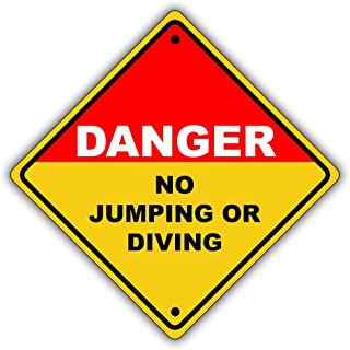 Danger No Jumping or Diving Shallow Water Pool Aluminum Safety Sign 12x12