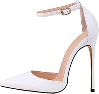 LOVIRS Womens High Heel Pointed Toe Ankle Strap Stiletto Pumps Wedding Basic Shoes