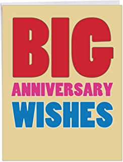 Big Anniversary Wishes - Happy Anniversary Card with Envelope (Large 8.5 x 11 Inch) - Bold Letter Greeting Card for Boyfriend, Fiance, Husband - XL Stationery Notecard Gift, Loving Sentiment J2722ANG