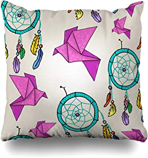 ArTmall Throw Pillow Case Hanging Yellow Abstract Cute Origami Dream Catchers Vintage American Americas Asian Bird Design Zippered Pillowcase Square Size 20 x 20 Inches Home Decor Cushion Covers