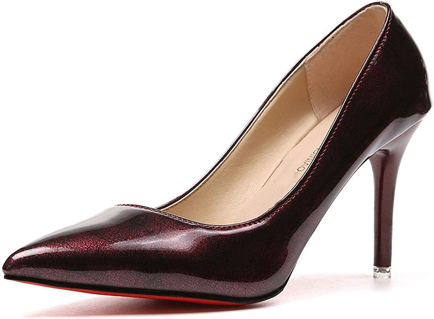 Youthern Heels Cinderella shoes Women Pumps Pointed Toe Wine Red Wedding 7Cm Thin Heels Office shoes