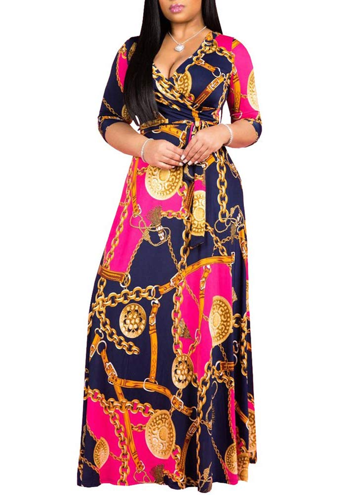 Available at Amazon: acelyn Women's African Long Dress Sexy V Neck Floral Print Long Sleeve/Sleeveless Casual Maxi Dresses with Belt