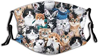 Smile Cat Cloth Face Mask With Filter Pocket Washable Reusable Face Bandanas Balaclava With 2 Pcs Filters