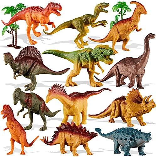 TOEY PLAY 12 Piezas Figuras Dinosaurios Juguetes con Arboles, T-Rex, Stegosaurus, Triceratops, Juguete Regalo para Niños Niñas 3 4 5 6 Años