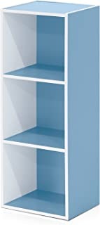 Furinno 3-Tier Open Shelf Bookcase, White/Light Blue 11003WH/LBL