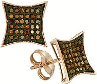 Brandy Diamond Dark Chocolate Brown 10k Rose Gold Fabulous Stud Earrings 1/4 Ctw.