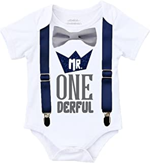 Mr Onederful 1st birthday Outfit Shirt Navy and Grey with Suspenders
