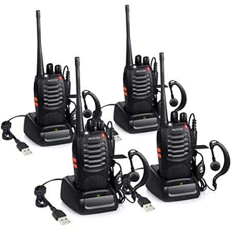 Proster Walkie Talkie Recargables, Walky Talky Profesionales 16 Canales, CTCSS DCS, con Auricular Incorporado Antorcha de LED y Cargador USB, 2 Pares
